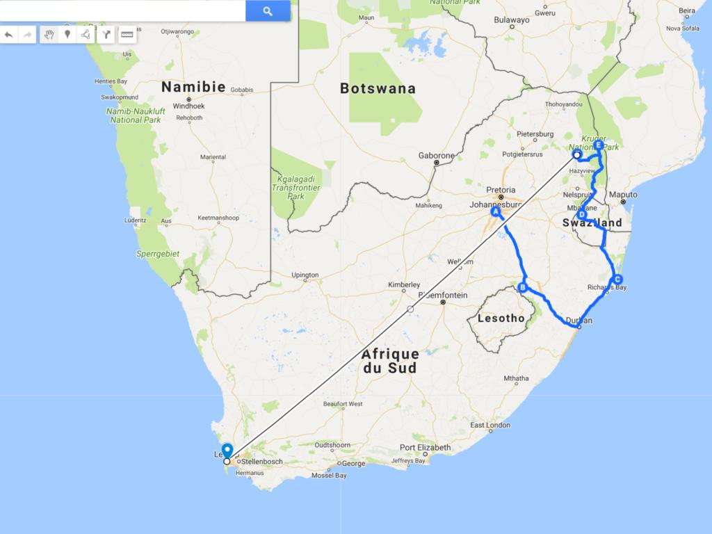 Afrique du Sud itinéraire