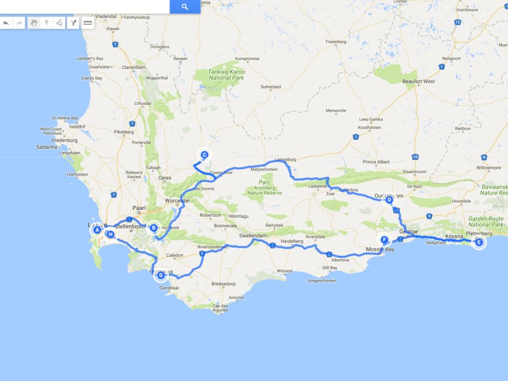 Carte Garden Route Afrique Du Sud.5 Itineraires Pour 2 Semaines En Afrique Du Sud Poesy By